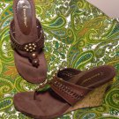 BARE TRAPS SWISH BROWN LEATHER THONG SANDALS WOMEN'S SIZE 8.5M SHOES MRSP $63