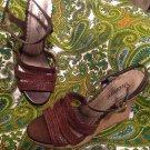 MADELINE SIZE 6.5M WOMEN'S BROWN BASKET WEAVE WEDGE HEELS SANDALS MRSP $58 SHOES