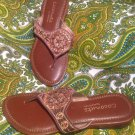 COCONUTS KELSEY WOMEN'S BROWN GOLD SANDALS THONG FLIP FLOP SHOES BY MATISSE 6M