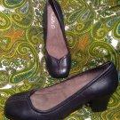 MICHELLE D REDA 6M WOMEN'S BLACK LEATHER LOAFERS HEELS SLIP ONS SHOE PUMPS