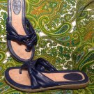 WOMEN'S B.O.C BORN CONCEPT NAVY BLUE LEATHER THONG SANDALS SHOES SZ 7M MRSP $54