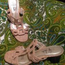 LIFE STRIDE SQUARE OFF WOMEN'S LADIES LOW HEEL CORK SANDALS ELASTIC COMFORT 6.5M
