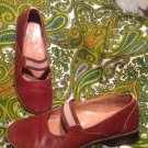 "JOAN AND DAVID ""CIRCA"" BROWN LEATHER 6M WOMEN'S MARY JANES ELASTIC CROSS STRAP"