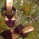 ALFANI URGE WOMEN'S BROWN LEATHER BRAIDED T-STRAP BUCKLE WEDGE SANDALS SZ 10M
