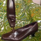 LIZ BAKER 6M WOMEN'S BROWN LEATHER PUMPS HEELS SQUARE BOW TOE SLIP ON MRSP $68
