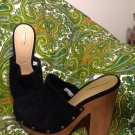 "MOSSIMO SUPPLY CO. WOMEN'S 7.5M BLACK SUEDE CLOGS SHOES MULES DISPLAYS 5"" HEELS"
