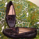 WOMEN'S LANDS END 400673 BROWN PEBBLED 6.5B LOAFERS FLATS DRIVING MOCCASINS