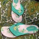 MERRELL ISLAND GREEN/YELLOW STITCH WOMEN'S  FLIP FLOP THONG SANDALS SIZE 11M