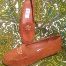 NINE WEST RUST BROWN SUEDE LEATHER WOMEN'S DRIVING LOAFERS SHOES SIZE 6.5M EUC