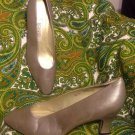 BANDOLINO EILEEN WOMENS GRAY CAREER DRESS MULES HEELS SZ 7M LEATHER EUC MRSP $62