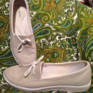 GRASSHOPPERS WOMEN'S BEIGE CANVAS ELASTIC CASUAL LOAFERS SLIP ON SIZE 7.5S