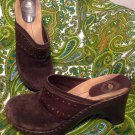 NUTURE WINDMILL BROWN SUEDE LEATHER WEDGE CLOG SHOES SZ 7M Women's Mules Slip On