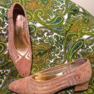 "J.RENEE CORK NATURAL GOLD MESH 1 5/8"" HEEL PUMPS SHOES 7.5M MRSP $68"