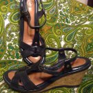 WOMEN'S NUTURE HAWKINS LEATHER BLACK STRAPPY WEDGE SANDALS SIZE 9M MRSP $69