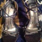 Crysalis Womens Black/ Stones/Silver Formal Wedding High Heel Sandal Shoes SZ 10
