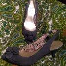 ANN KLEIN DARLENE 6.5M WOMEN'S GRAY LEATHER POINTY TOE SLINGBACK HEELS PUMPS