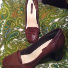BANDOLINO JOAB WOMEN'S BROWN LEATHER PENNY LOAFER SQUARE TOE PUMPS SZ 9M