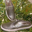 G BY GUESS OBSESS SZ 10M WOMEN'S SILVER MULES SNEAKERS SHOES W/CUTOUTS MRSP $79