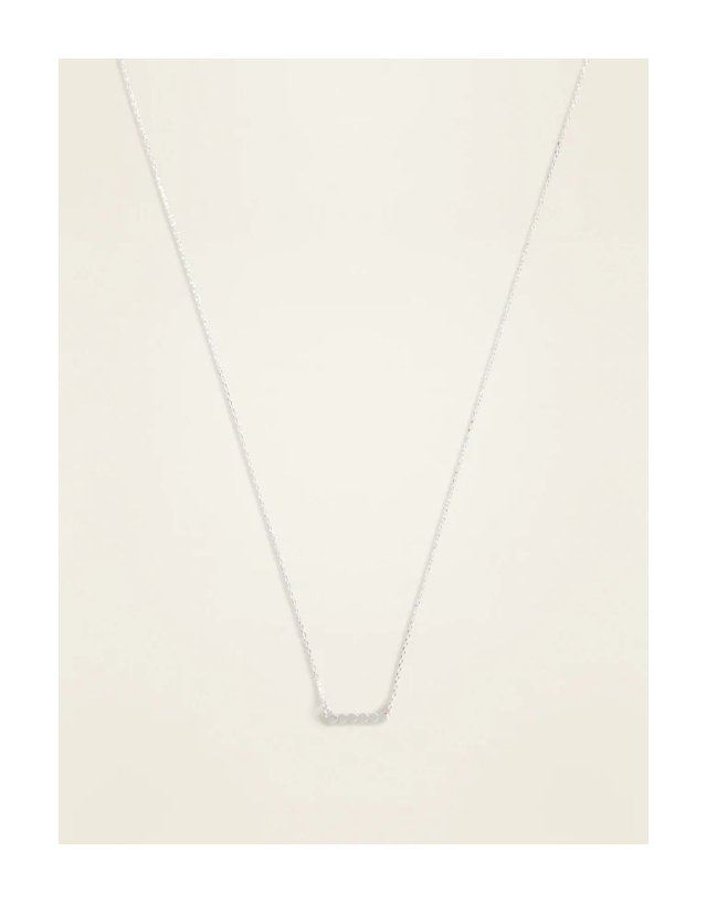 Old Navy Silver-Toned Disk-Bar Pendant Necklace for Women