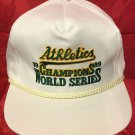 MLB 1989 WORLD SERIES CHAMPS ADJUSTABLE HAT, OAKLAND A'S, NEW,VINTAGE,WHITE, NR