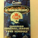 CFL 1996 POCKET SCHEDULE, GREY CUP, FOOTBALL, CANADIAN FOOTBALL LEAGUE