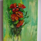 Impasto Original Oil Painting Red Poppies Impression Wild Flowers Bouquet Europe Artist