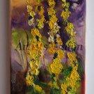Mullein Impression Original Oil Painting Impasto Floral Palette Knife Purple Yellow Europe Artist