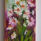 White Daisies Original Oil Painting Impasto Art Palette Knife Wild Flower Impression Europe Artist