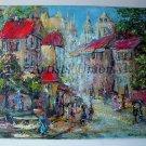 Old Paris Original Oil Painting Impasto Cityscape Walking People Town Textured Linen Europe Artist