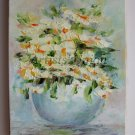 White Flowers Original Oil Painting Impasto Still life Daisies Impression Bouquet Vase Europe Artist