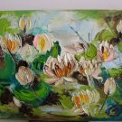 Water Lilies Impasto Original Oil Painting Palette Knife Textured Flowers Impression Europe Artist