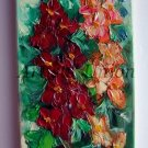 Mallows Impasto Original Oil Painting Malva Palette KnifeTextured Red Flowers Garden Europe Artist