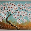 Abstract Tree Original Oil Painting White Flowers Impasto Modern Brown Blue Cherry EU Artist Offer