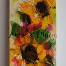 Sunflowers Impasto Original Oil Painting Palette knife Impression Garden Floral Europe Artist Offer