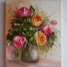 Pink Orange Roses Original Oil Painting Impasto Palette knife Textured Still life Vase Europe Artist