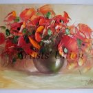 Original Oil Painting Impasto Still Life Red Poppies Textured Bouquet Vase Linen Europe Artist Offer