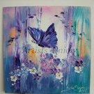 Butterfly Flowers Original Impasto Oil Painting Purple White Blue Meadow Board Europe Artist Offer