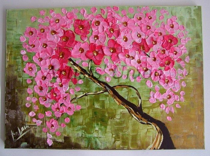 Pink Tree Original Oil Painting Abstract Impasto Textured Modern Art Cherry Flowers EU Artist