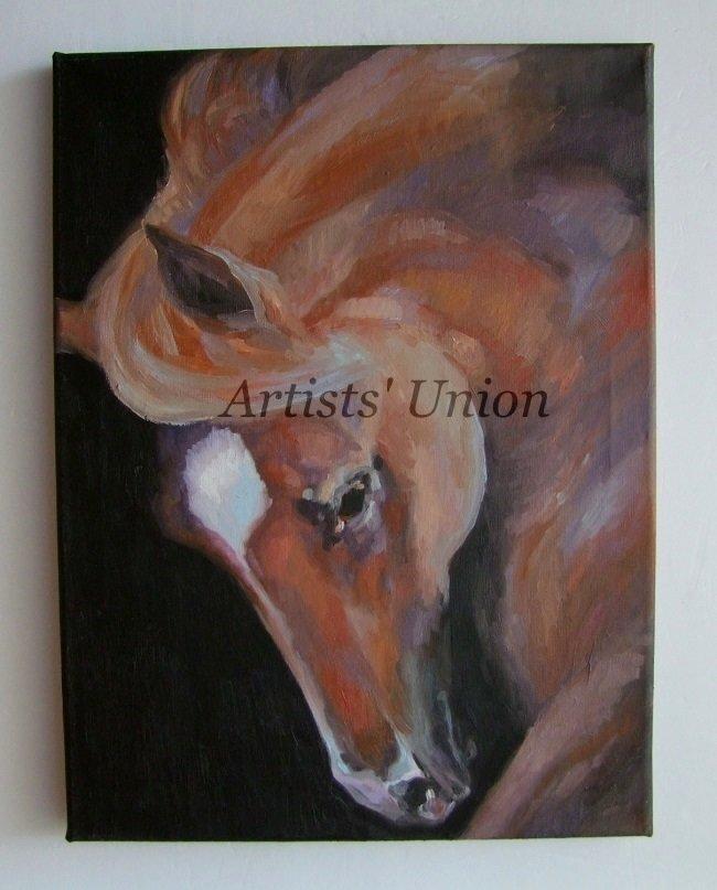 Horse Portrait Original Oil Painting Animal Fine Art One-Of-A-Kind Impression Europe Artist