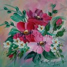 Pink Flowers Original Oil Painting Palette Knife Textured art Impasto Wild Roses Blossoms EU Artist