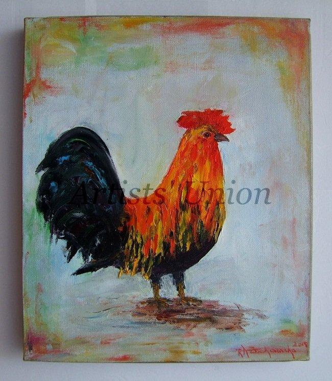 Rooster Impasto Original Oil Painting Animal Textured Colorful Bird Art Impressionist Europe Artist