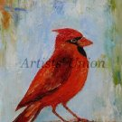 Cardinal Bird Art Original Oil Painting Impression Red Animal Art Linen artistsunion Europe Artist