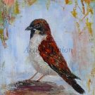 Sparrow Original Oil Painting Bird Fine Art Textured Impressionism Linen artistsunion Europe Artist