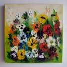 Colorful Pansies Original Oil Painting Textured Impasto Palette Knife Flowers Europe Artist Offer