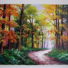 Autumn Landscape Original Oil Painting Fall Forest Impasto Palette knife Trees Leaves Europe Artist