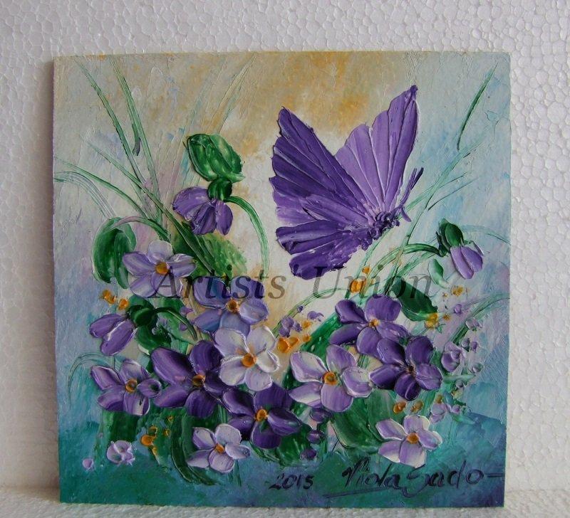 Violets Butterfly Original Oil Painting Textured Art Flowers Palette Knife Impasto Fine EU Artist