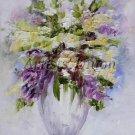 Lilacs Original Oil Painting Textured Still life Impasto Impression Purple White Bouquet EU Artist