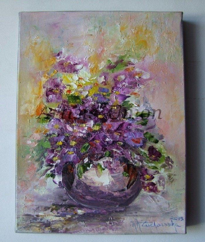 Violets Original Oil Painting Still life Impasto Purple Flowers ...