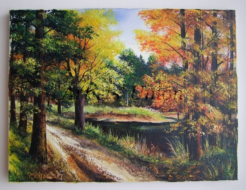 Fall Landscape Original Oil Painting Autumn Impasto Art Forest River Trees Leaves Lake Europe Artist