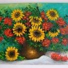 Sunflowers Rowanberry Original Oil Painting Yellow Orange Flowers Bouquet Impasto 24 inch EU Artist